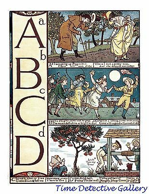 Children's Alphabet Page by Walter Crane - A-B-C-D - Poster in 3 Sizes