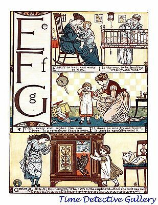 Children's Alphabet Page by Walter Crane - E-F-G - Poster in 3 Sizes