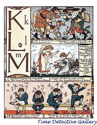 Children's Alphabet Page by Walter Crane - K-L-M - Poster in 3 Sizes