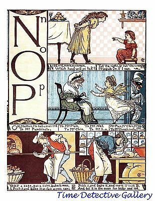 Children's Alphabet Page by Walter Crane - N-O-P - Poster in 3 Sizes