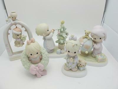 Lot of 6 Precious Moments Holiday Christmas Santa Tree Boy Girl Figures Set