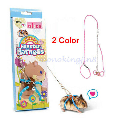Fashion Pet Rat Mouse Harness Adjustable Hamster Ferret Squirrel Lead Leash