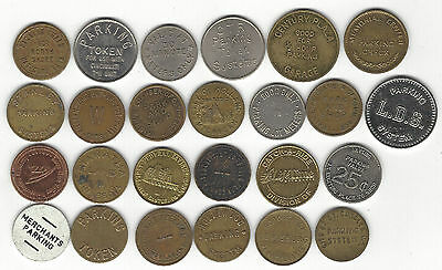 4. Lot Of 25 Mixed Locations; Vintage & Current Parking Lot Tokens