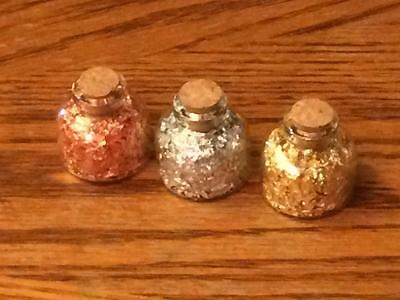 Gold,Silver,Copper Flakes in Mini Glass 10 ML Bottles (Lot of 3)