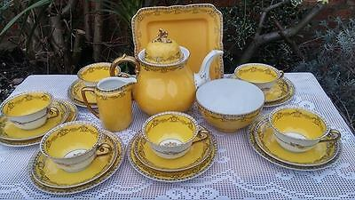 Krister KPM Porcelain yellow ground tea set
