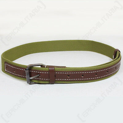 WW2 Russian Canvas Belt - Repro Soviet Military Leather Green Brown All Sizes