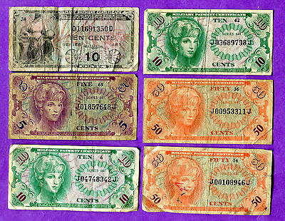 United States - Military Payment Certificates - Lot of 6 Pieces Circulated