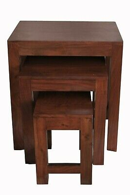 Luxury New  Handmade Solid Mango Wood Set Nest Of 3 Tables £59.90 Natural