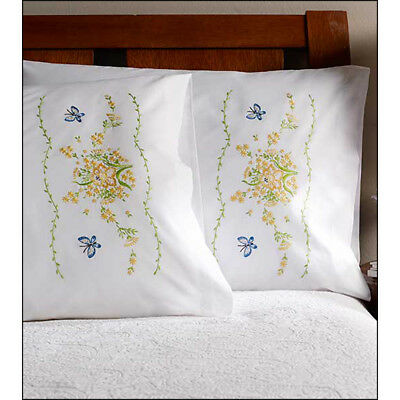 """Stamped Embroidery Pillowcase Pair 20""""X30""""-Daffodil Bouquet 46285"""