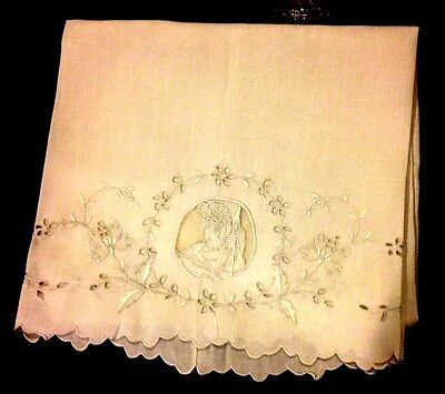 Antique Large Tea Towel White Embroidery Drown-work  Scalloped Edges Hand Made