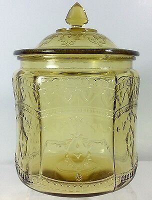 Patrician Cookie Jar Amber Depression Glass Federal 1933 Spoke Cracker Candy