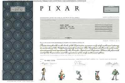 PIXAR stock certificate - Steve Jobs animated movies acquired by Walt Disney
