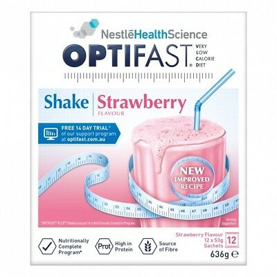 OPTIFAST VLCD Strawberry Flavour Protein Shake 53g X 12 Packs