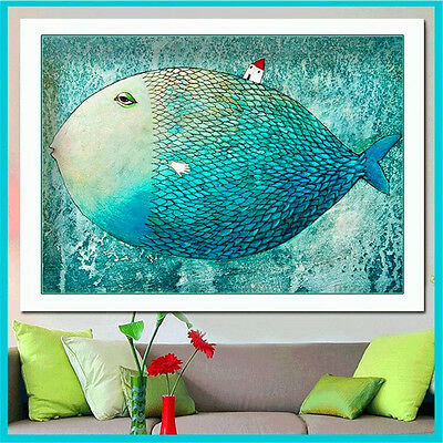 Canvas Painting No Frame Animal Art Pictures Big Blue Fish Fashion for Bedroom