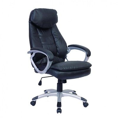 Computer Chair Black Office Executive High Back Desk Chair Real Leather Ergonomi