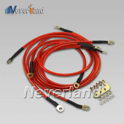 Universal 5 Point Red Car Battery Ground Grounding Cable Earth Wire System Kit