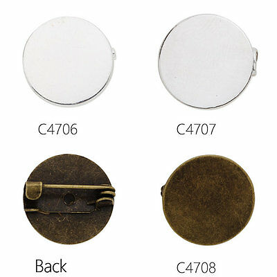 Round Shallow Bezel Brooch Pin DIY jewelry fit 15mm round cabochons 20 pcs