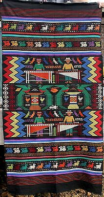 Vintage Guatemala Animals People Musician Bird Wall Hanging Tapestry Rug Textile