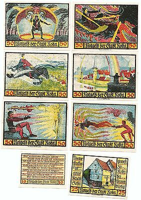 **1921 RODA Germany Banknote - DR. FAUST ~ Complete RARE Set German Notgeld UNC