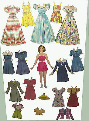 Shirley Temple 1942 Paper Doll Rare Teenage  - + 17 Pc Orig  Clothing