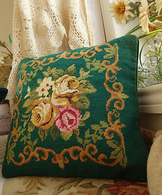 "14"" Classic Vtg. Rose Bouquet Scroll Handmade Green Needlepoint Pillow"