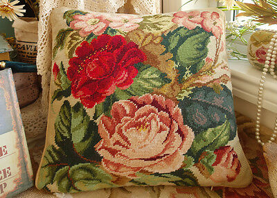 "16"" Completed Whole Rich Color Flowers Vtg. Handmade Needlepoint Pillow"