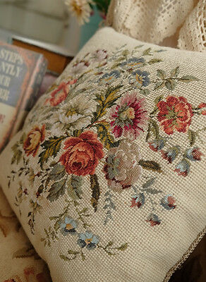 """16"""" Stunning OLD VTG Whole Petit Point Stitched Floral Needlepoint Pillow"""