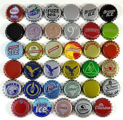 35 Crown Caps Collection from Venezuela, new, beer, soda and ron