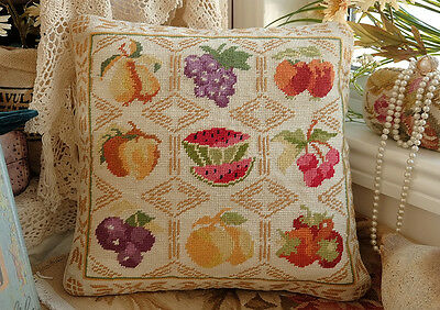 "16"" Hand Woven Cottage Decor Various Fruits Beautiful Needlepoint Pillow"