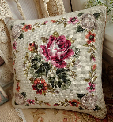 "14"" So Stunning Rose Bouquet With Decorative Garland Needlepoint Pillow"