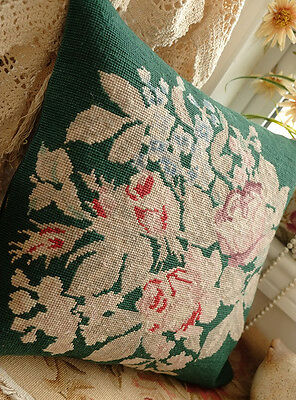 """17"""" England Rural Home Decor Green Color Full Floral Needlepoint Pillow"""