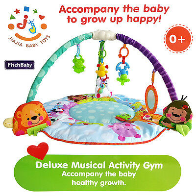 Deluxe Baby Musical Activity Gym Play Mat Toy Soft Blanket Toddler Crawling Pad