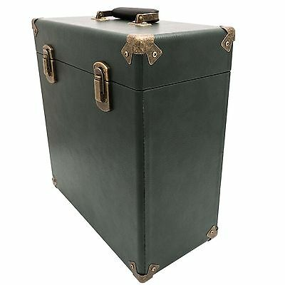 GPO UK Vintage Turntable Vinyl Record Player Carry Case - Green **FREE DELIVERY*