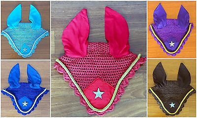 Ear Bonnet / Fly Net – with Glitter Star & Cord Trim – FREE Post in AU