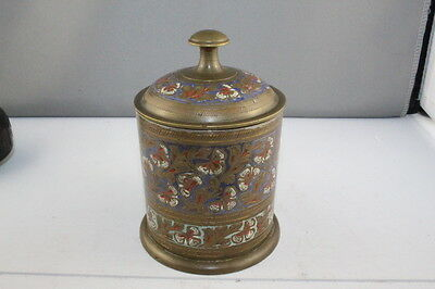 Antique Vintage Brass & Enamel Tea Caddy Tin Lined Made in India No 477.C