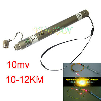 10mW 10~12KM Pen Type Visual Fault Locator VFL Red  Light Fiber Optic Cable Test