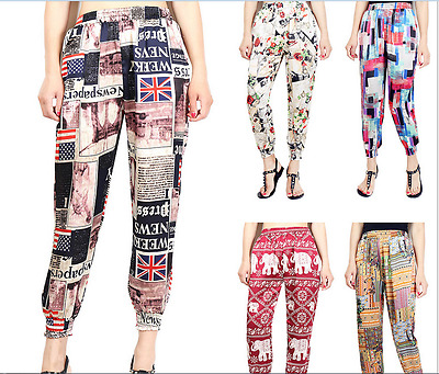 Hot Style Loose Plus-size Haroun Pants High Haist Thin Printing Female Trousers