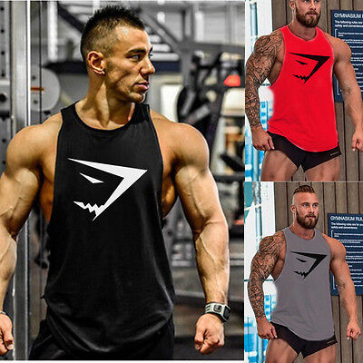 Muscle Mens Bodybuilding Tank Top Gym Singlet Workout Fitness Sports Racer-BACK