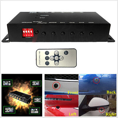 Car 4-Way Video Switch Parking Camera 4 View Front/Rear/Left/Right Control Box