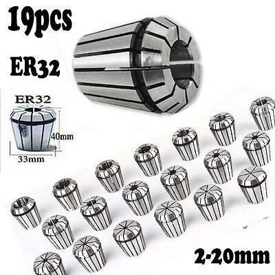 19PCS ER32 Precision Metal Spring Collet Set CNC Milling Lathe Tool Local Stock