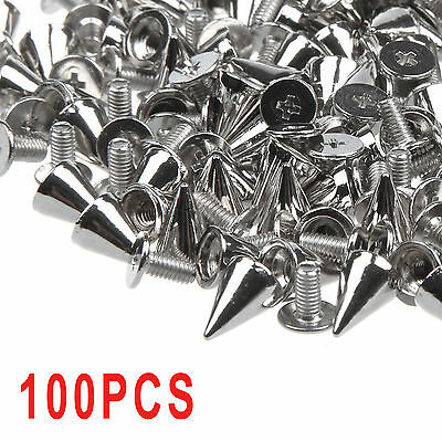 100× 10Mm Spots Cone Screw Metal Studs Leathercraft Rivet Bullet Spikes Earnest