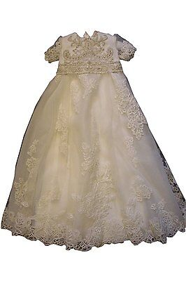 Newdeve Lace Round Neck Ivory Christening Baptism Gowns For Babies 9-12 months,