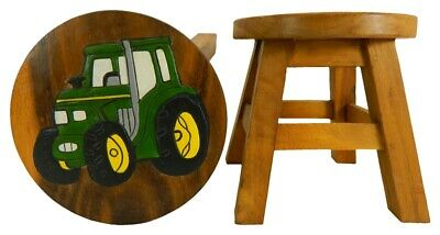 Childs Childrens Wooden Stool - Green Tractor Step Stool