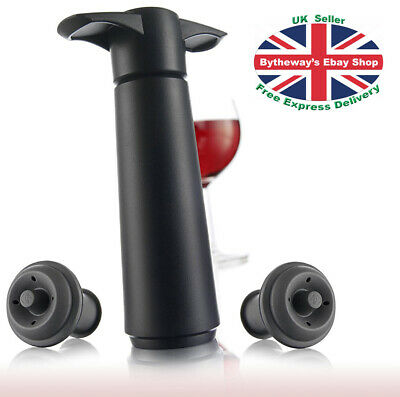 Vacu Vin Wine Saver Pump with 2 x Vacuum Bottle Stoppers (Black) *BRAND NEW*