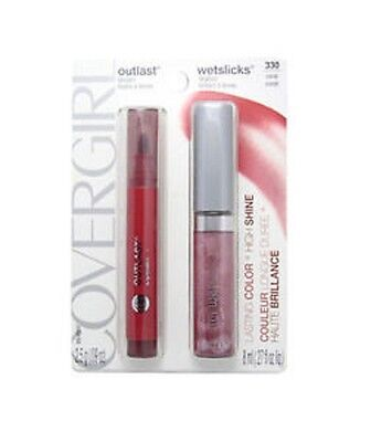 Covergirl Outlast Lipstain & Wetslicks Lipgloss Pack 330 Coral (Shade 440 & 340)