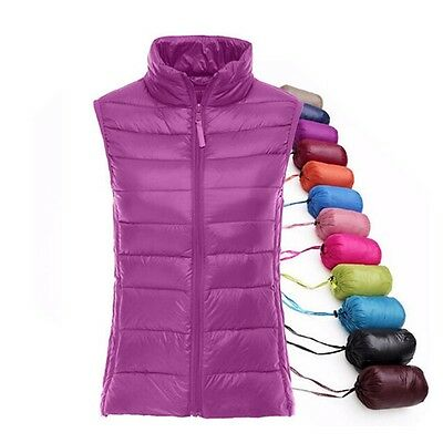 NEW Winter Women Vest White Duck Down Jacket Warm Short Vest Parka Plus Size