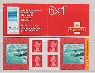 2014 Commonwealth Games Glasgow PM43 6 x 1st Self Adhesive Booklet
