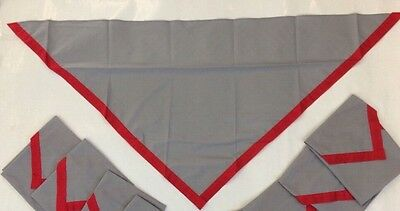 Grey Necker with Red Edging On 2 Sides.  Cubs, Scouts & Guides. Sold Singly