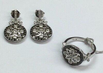 Estate 18 K White Gold Earrings and Ring Set With Diamonds
