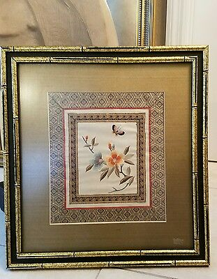 Vintage Chinese Silk Embroidery flowera w/ butterfly framed
